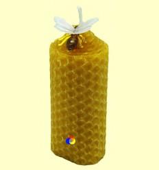 Vela bugia baixa de cera verge amb abella decorativa - Tierra 3000-1 vela