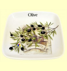 Olivera de ceràmica quadrada amb dibuix d'oliveres - Signes Grimalt