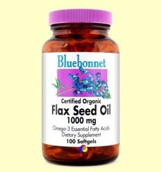 Oli de Llavor de Lli Ecològic 1000 mg - BLUEBONNET - 100 càpsules toves