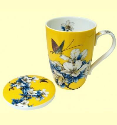 Tassa per Te amb tapa groga motius florals - Signes Grimalt - 33 ml
