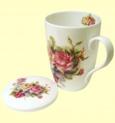Tassa per Te amb tapa blanca motius florals - Signes Grimalt - 33 ml