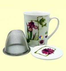 Tassa Porcellana motius Florals amb Filtre i Tapa - Agatha s Bester