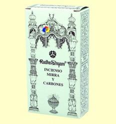 Encens Mirra i Carbons - Radhe Shyam - 50 g + 10 unitats