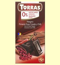 Xocolata Negre amb Pebre Rosa, Canela i Chili - 0% Sucre - Torras - 75 grams