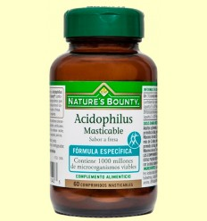 Acidophilus Masticable (Sabor maduixa) - Nature 's Bounty - 60 càpsules