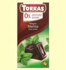 Xocolata Negre amb Menta 52% Cacau - 0% Sucre - Torras - 75 grams