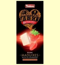 Xocolata Blanca amb Maduixes Zero - Torras - 125 grams