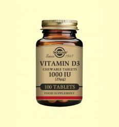 Vitamina D3 1000IU (25ug) Masticable - Solgar - 100 comprimits *
