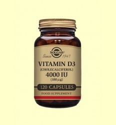Vitamina D3 Colecalciferol 4000 UI (100μg) - Solgar - 120 càpsules