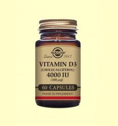 Vitamina D3 Colecalciferol 4000 UI (100μg) - Solgar - 60 càpsules