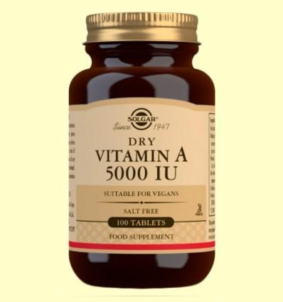 Vitamina A Seca amb Vitamina C - Solgar - 100 comprimits