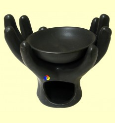 Cremador Olis Essencials Ceràmica de color negre Forma mà - Signes Grimalt ******