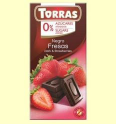 Xocolata Negre amb Maduixa sense sucre - Torras - 75 grams