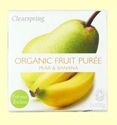 Puré de Fruites Orgàniques - Pera i Plàtan - Clearspring - 2 x 100 grams