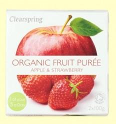 Puré de Fruites Orgàniques - Poma i Maduixa - Clearspring - 2 x 100 grams
