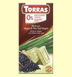 Xocolata Blanca amb Algues i Flor de Sal Negra sense Sucre - Torras - 75 grams