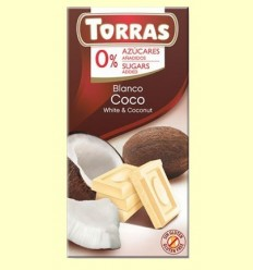 Xocolata Blanca amb Coco sense Sucre - Torras - 75 grams
