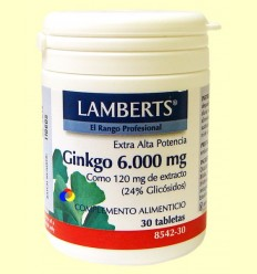 Ginkgo Biloba 6000 mg - Lamberts - 30 tabletes