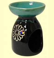 Cremador Rodó Ceràmica per a olis essencials Verd i Marró - Signes Grimalt